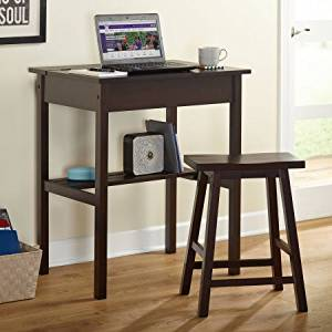 Storage Writing Desk with Stool Set, Practical, Desk Top Lifts for Storing Items, Save Space, Perfect for Dorm, Small Work Space, Rectangle Shape, Indoor Furniture, Espresso Finish