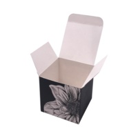 China manufacture custom logo printed matte black square art paper box for skin care product aromatherapy candles gift box