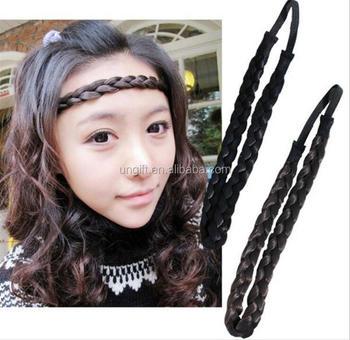 Fake Hair Braid Headband Beautiful Beach Wave Wig Braid Knitted Hair Bands  Accessories for Women Headwear 0cfb14e0a9f