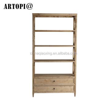 Simple Style Wood Bookcase Vintage Oak Storage Bookshelf For Sale