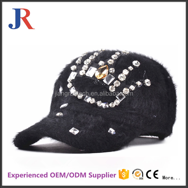 2017 Custom kids funny winter hats crystal rhinestone Cute Fur Kids Baseball Caps winter Hats For Children