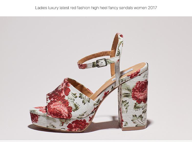 10fce8b3076 Ladies fancy girls latest sexy red fashion floral high heel wedge heel new  design summer sandals