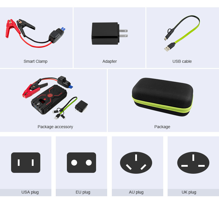 Fashionable design fast charging 1200A high peak current battery jump starter
