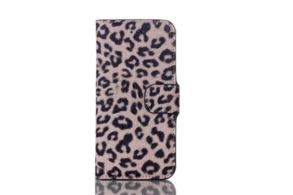 Classic Leopard Magnetic Clip PU Leather Stand Case for iPhone 6 with Card Slots Holder