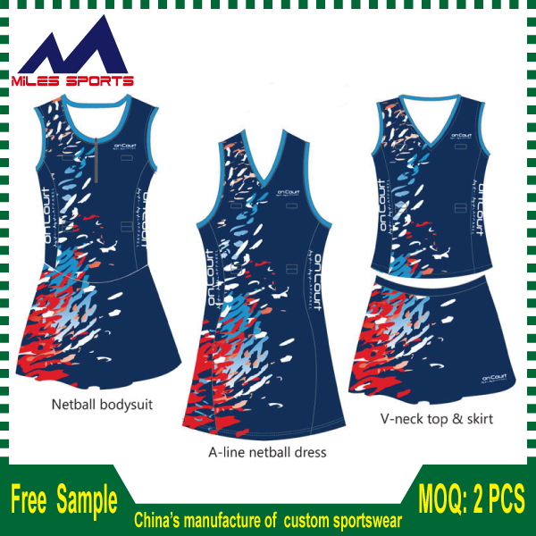 94340a1b673 Custom made Design Sublimation netball Dresses/whole sale netball bodysuits
