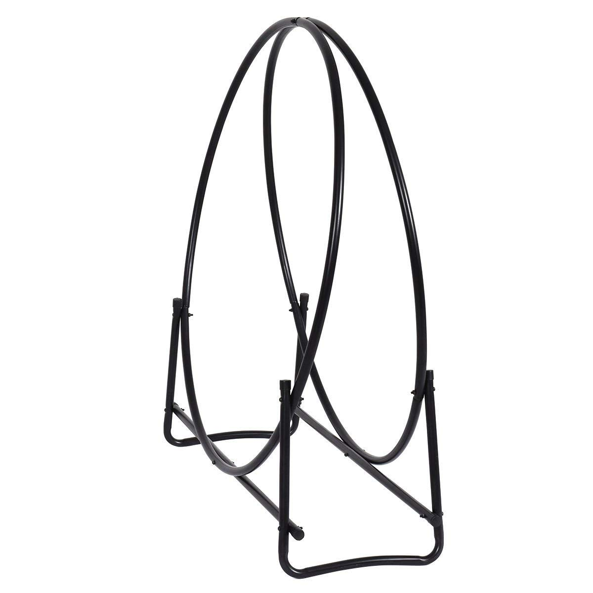 NEW 40-Inch Tubular Steel Log Hoop Firewood Storage Rack Holder Round Display New