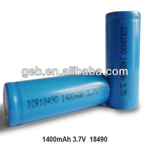 18490 li-ion 3.7V 1400mAh cylinder rechargeable battery