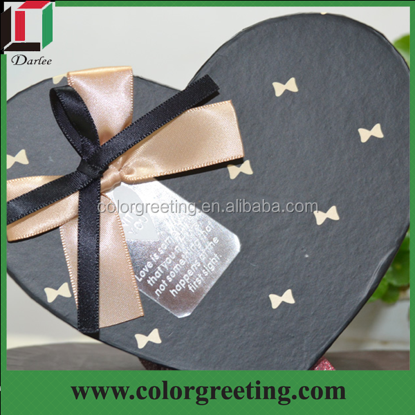 classic rigid cardboard food box handmade heart shape chocolate box with ribbon for wedding wholesale elegant cake box