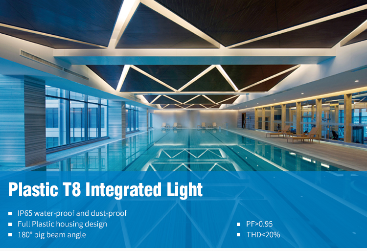 Plastik TUV CE UL Listed 900 Mm T8 Tahan Air LED Light dengan Braket IK10 IP66 Plug & Play T8 LED lampu Tahan Air Fixture