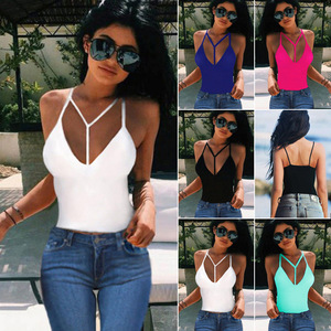 Summer Wholesales Latest Design Casual Ladies Halter V Neck Vest Sleeveless Crop Tops Cami Sexy Spaghetti Strap Tank Top Women
