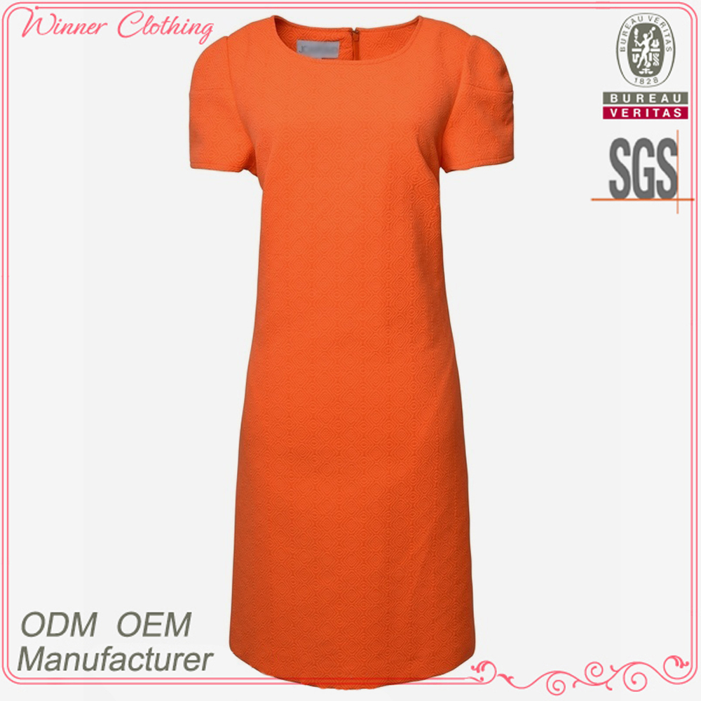 ladies elegant orange color short sleeve knee length straight line dress