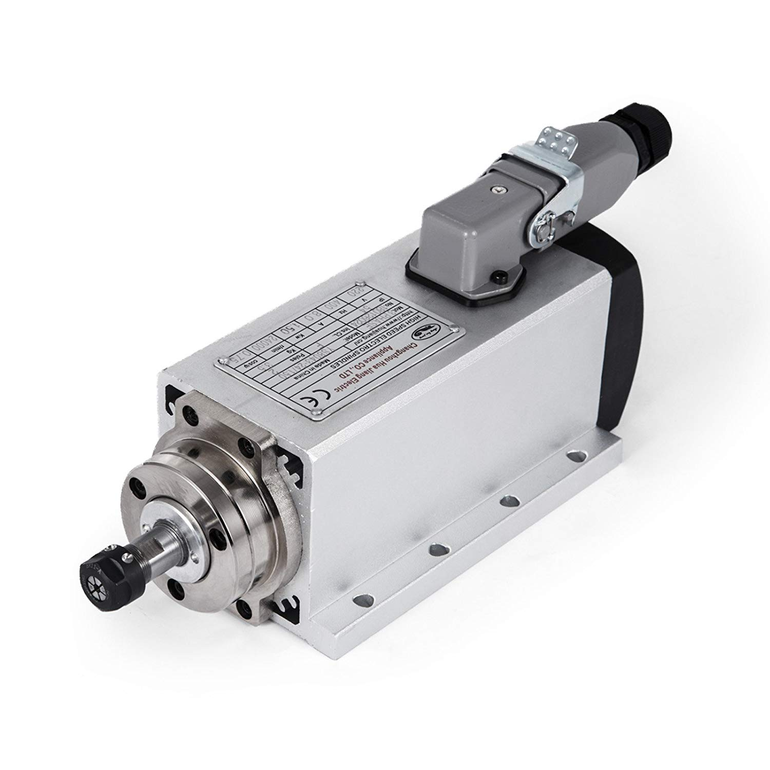 Mophorn Spindle Motor 1.5KW Square Air Cooled Spindle Motor ER11 Collect 24000RPM 220V CNC Spindle Motor for CNC Router Engraving Milling Machine (1.5KW Air Cooled)