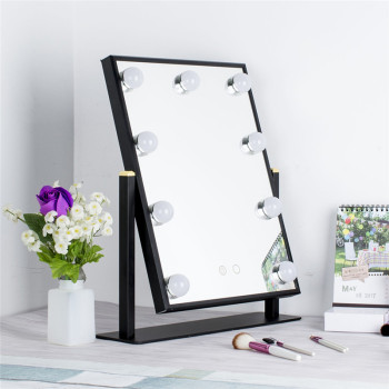Free Rotating Big Size Colorful Red Gold Black Silver Square Hollywood vanity  mirror with lights