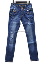 W0041 New design fashion high waist women denim pants ladies ripped frayed and shred jeans
