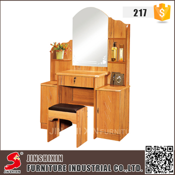 Bedroom Furniture Simple Design Pvc Wooden Dressing Table With Cupboard