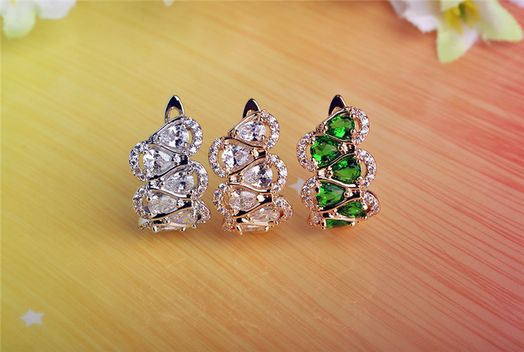 Blucome Shining Copper Jewelry Drop CZ Zircon Pave Prong Setting Hooks D Earring For Wedding Woman