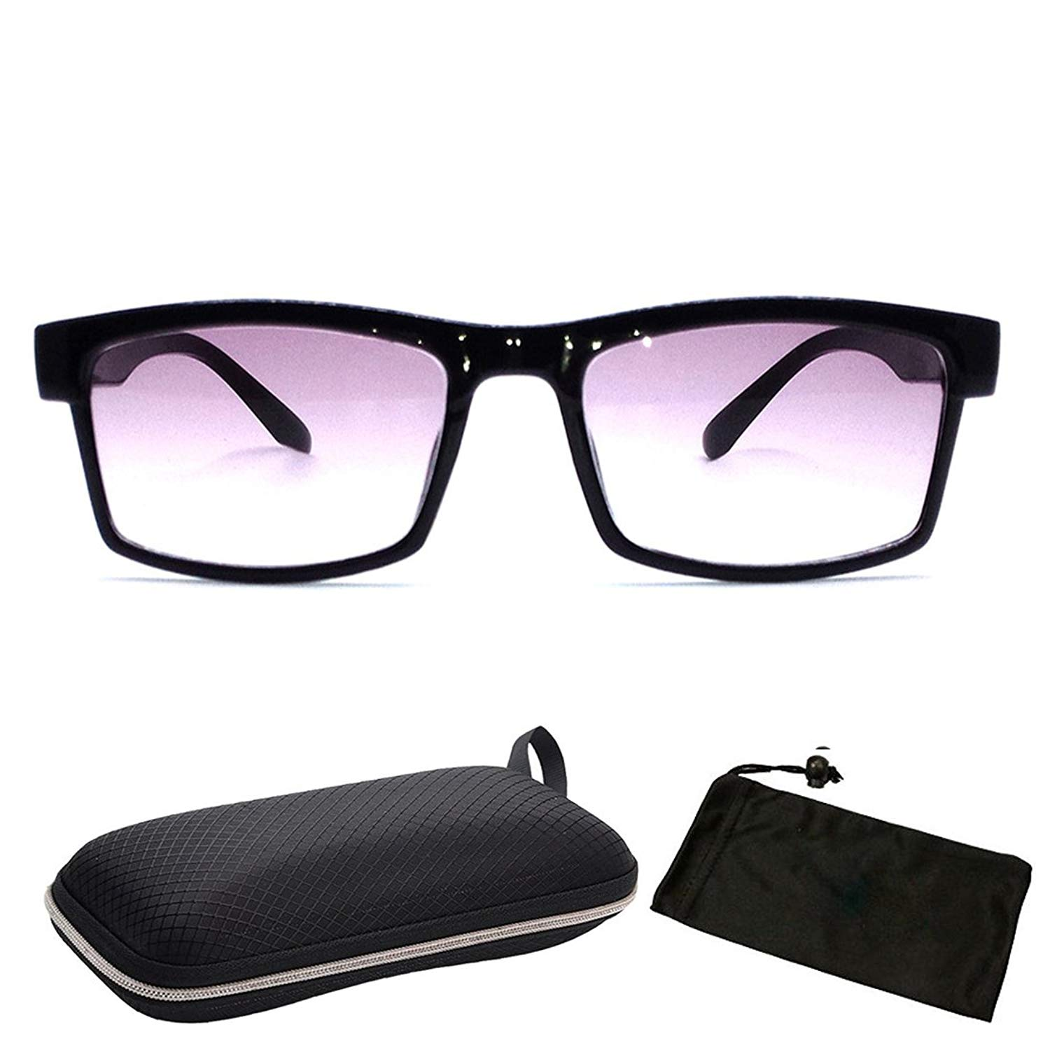 Unisex Men & Women Rectangular Square Shape Bifocal Sun Reader Sunglasses For Outdoor and Indoor Usage INCLUDED FREE: Hard Case + Cleaning Cloth (Strength : +2.50)