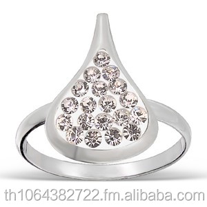 Pure Rain Drop Crystal 925 Sterling Silver Finger Ring Wholesale Fashion Jewelry