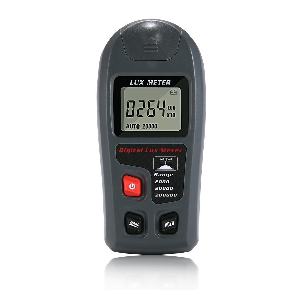 TopOne Light Meter Tester Measuring Luxmeter with Digital LCD Display for Study Plants Living Room (Range: 0.1~200,000Lux, 0.01~20,000Fc)