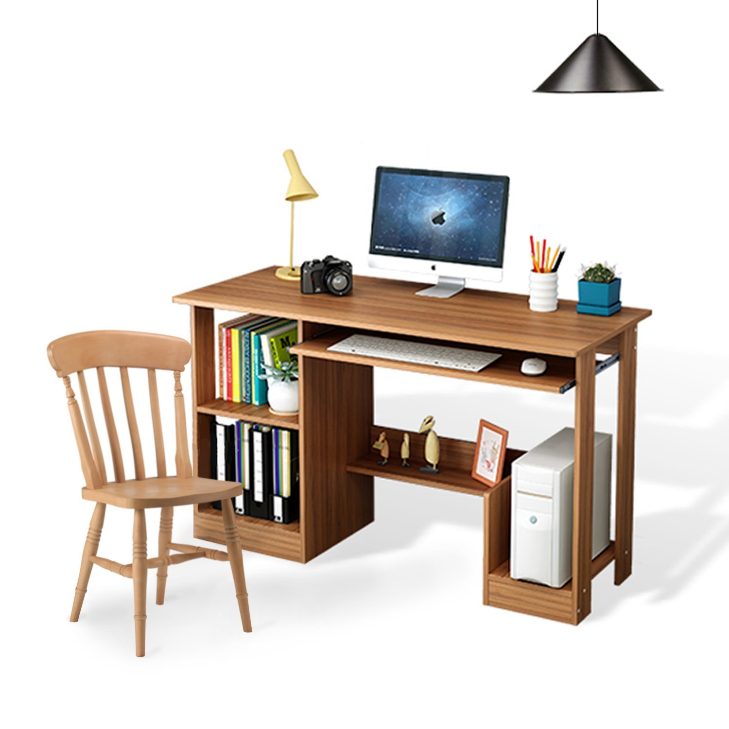 Jerry & Maggie - Computer Desk Table with Book Storage Shelf & Slide Keyboard Drawer - Lap Desk Personal Working Space for Office Living room Bedroom - Dark Wood Tone