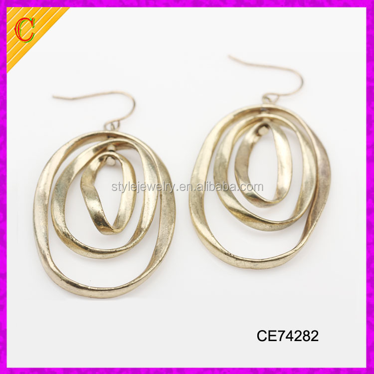 CE74282 Antique Gold Plated Copper three layer Circle Dangle Hook Vintage Earrings