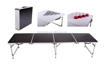 New aluminum beer pong table with holes for cups portable