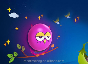 Cartoon Owl Led Night Light 3D DIY Wall Sticker Lamp With Sensor For Kids