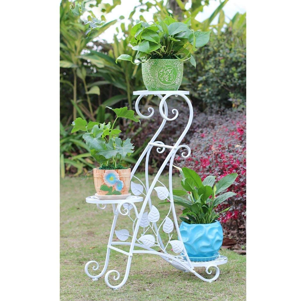 Flower Stand Plant Theatre - Three Tier Herb & Plant Theatre in Natural Hardwood. Handmade Metal Plant Stands Flower Shelf Display Shelf (Color : B)
