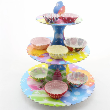 3tier cardboard cupcake stand for kid