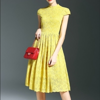 yellow lace lace muslim turtleneck cocktail dress