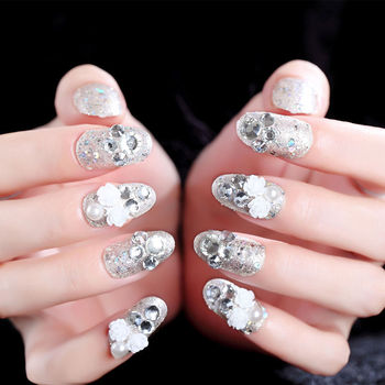 French bride False Nail Art With Glue Nail Tip Finished Manicure Flower Nail Patch Wholesale