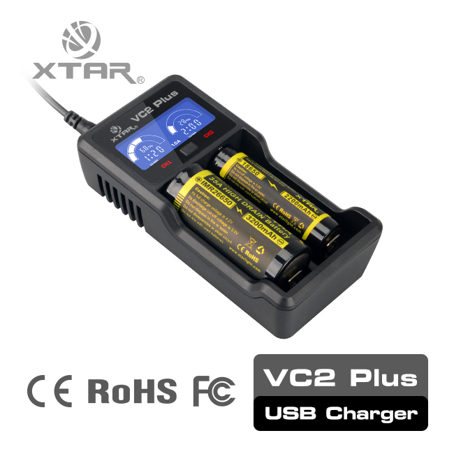 XTAR VC2 Plus Master 1A 2 bays mini max power 18650 lithium battey charger