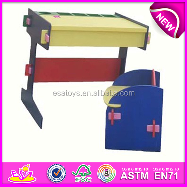 wooden 4 color school desk and chair for kids single student desks