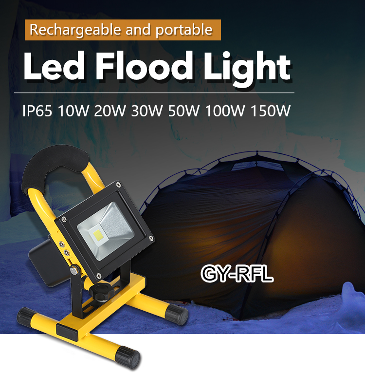 Small battery operated warm white Portable rechargeable 10W led flood light
