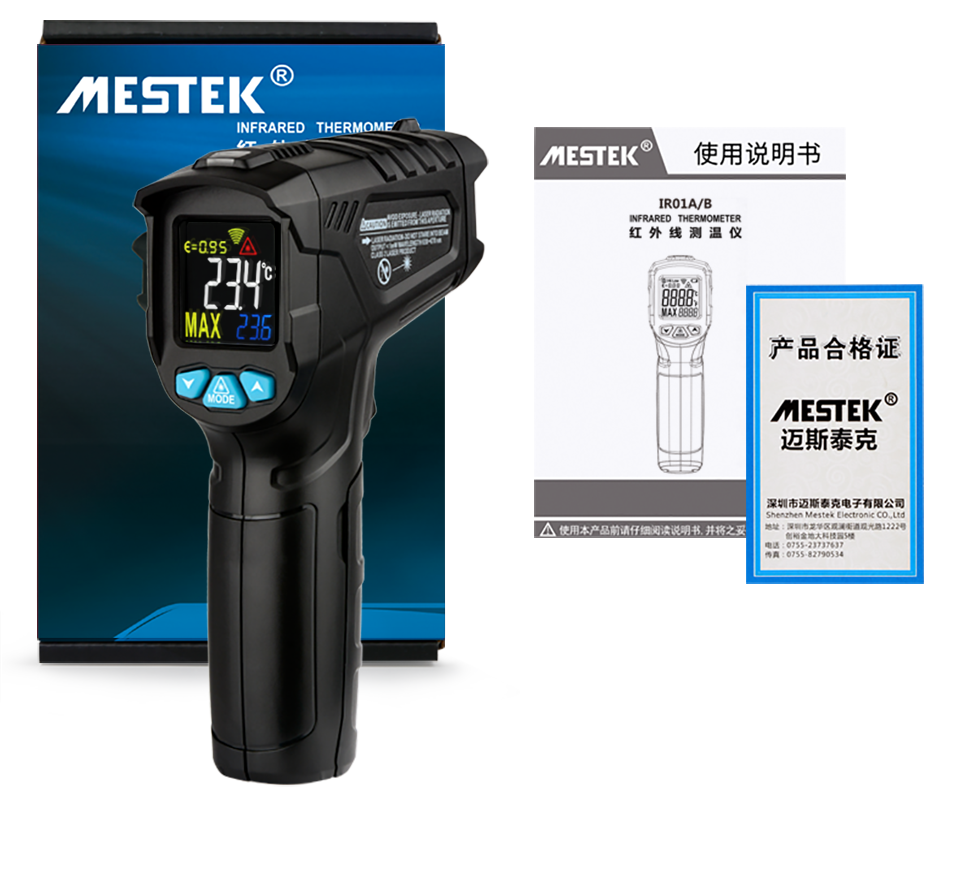 MESTEK -50~550C Infrared Thermometer IR01C Digital Humidity Meter Hygrometer 12 Point Temperature Test Area IR Laser Thermometer
