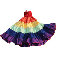 Wholesale Children Fairy Clothes Dress Rainbow Color Ruffle Frocks