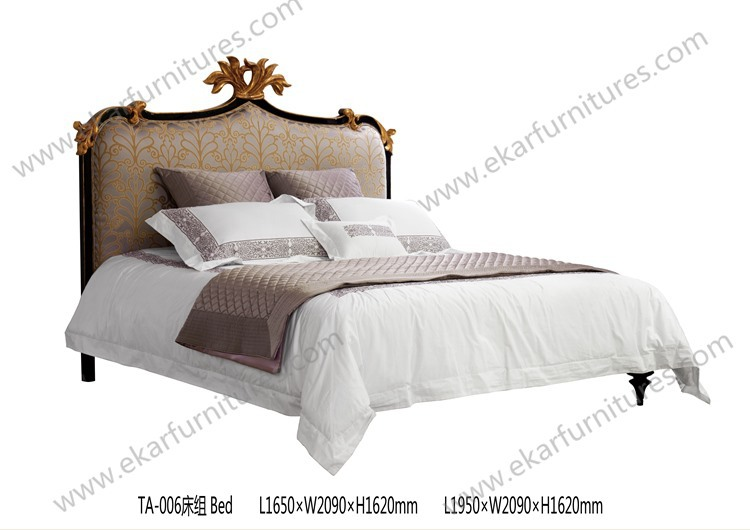 Foshan furniture carved wooden beds wood double bed