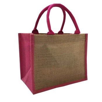 Promotional natural jute cosmetic handle bags for girl
