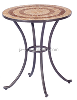 Metal round ceramic top table for outdoor patio furniture