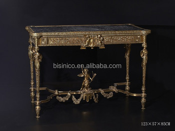 French Baroque Style Gold Leaf Console Table, Hand Painting Hallway Entry  Table, Solid Wood