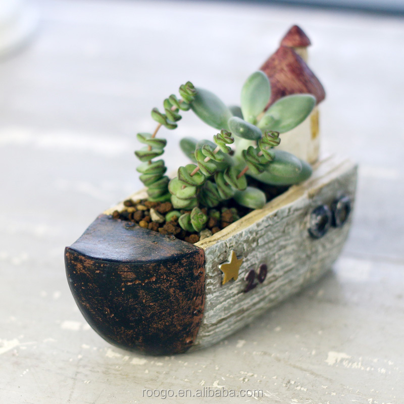 Wholesale Resin mini pot garden decoration succulent plant pots wholesale