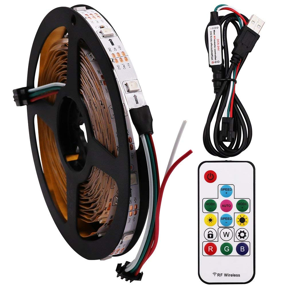 XUNATA 6.6ft TV LED Light Strip, 5V WS2812B 60 LED 5050 Backlight Strip Lights, Non-Waterproof USB Charged Changing Color Pixel Strip Kit with Remote Controller for Bias HDTV Desktop PC
