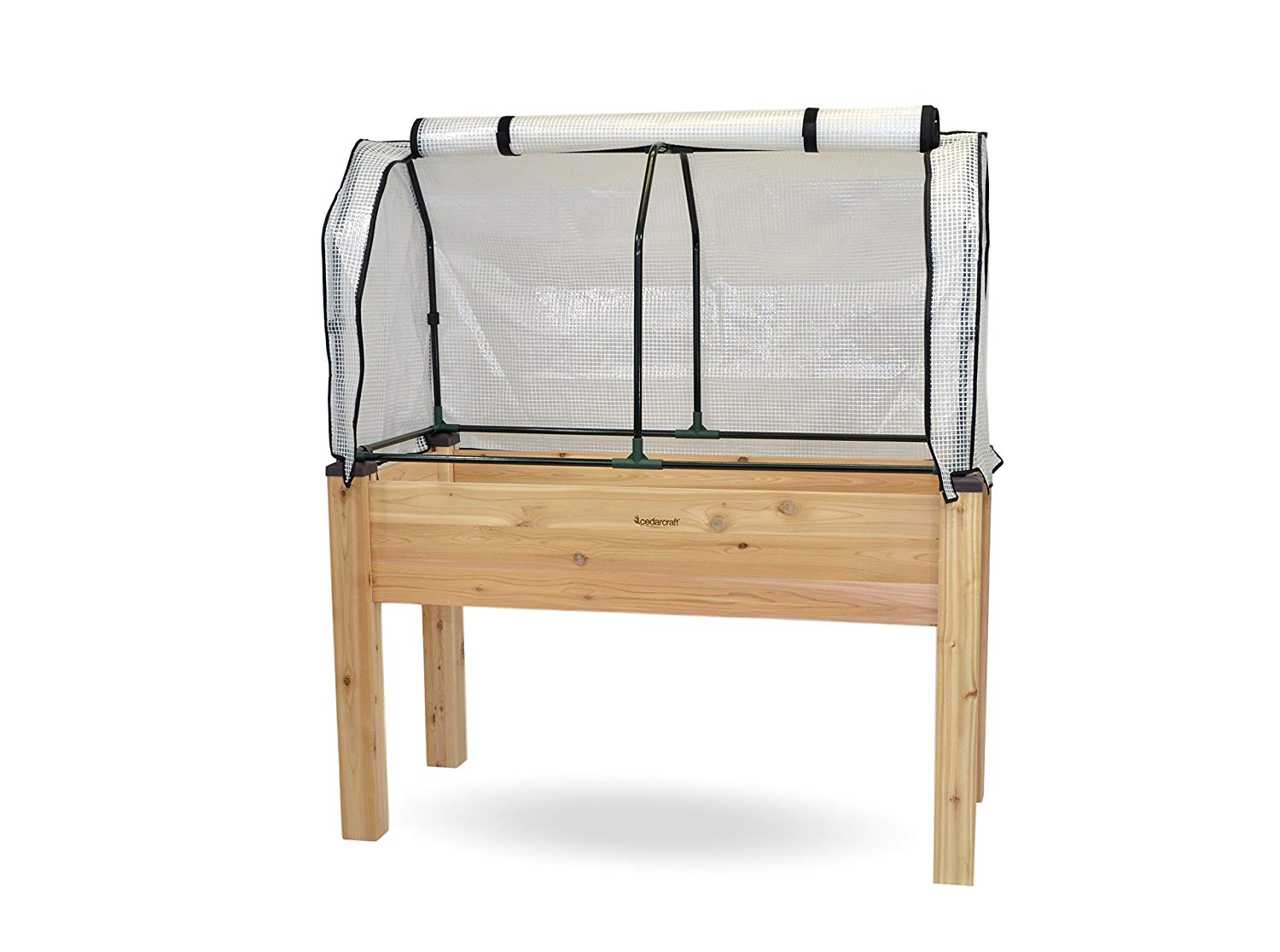 CedarCraft Self-Watering Elevated Cedar Planter 23x49x30 H With Greenhouse Cover - Complete raised garden kit to grow vegetables, herbs, flowers & succulents. Greenhouse extends growing season, prot