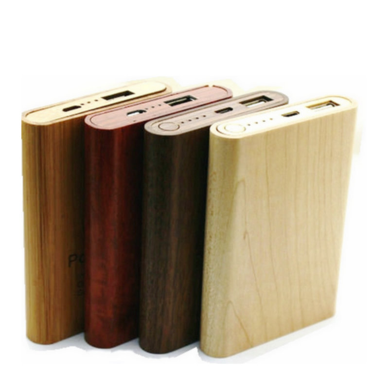 New model promotion business gift mini wooden power bank for iPhone for Samsung