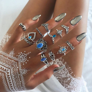 Vintage Diamond Ring Set,Starry Gems 13-piece Finger Ring