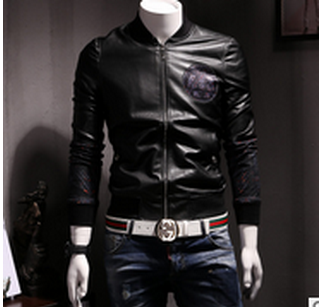 2016 autumn and winter men's jacket PU leather coat leather jacket tide male youth personality mosaic