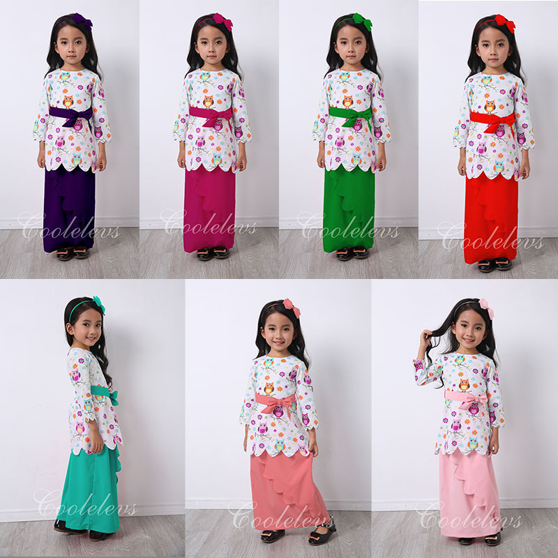 S66124A Muslim Maxi Dresses Baby Girls Clothes Costume Children Long Sleeve Dress