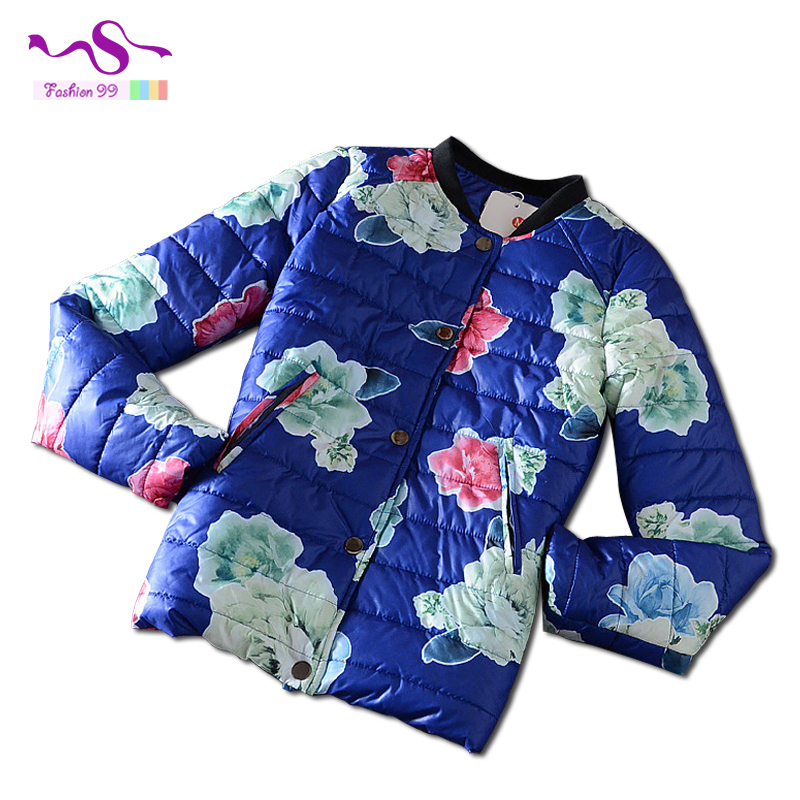 2015 Fashion women winter baseball cotton jacket standing collar flower print covered button winter parkas plus size YT154