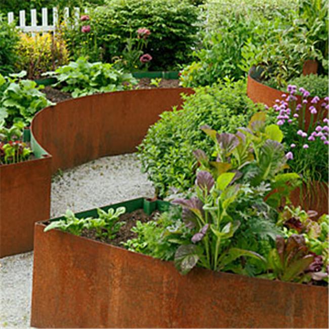 Flower Bed Maintenance Cost: Corten Steel Rusted Metal Raised Vegetable Garden Grow Bed