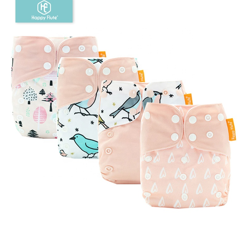 HappyFlute high quality breathable absorption cotton diapers for infant newborn baby cloth diaper, More than 300 colors